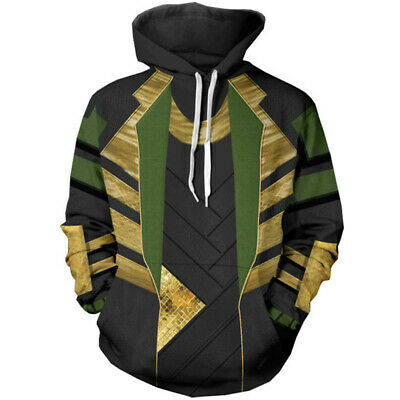 Marvel The Avengers Loki Hoodie Coat 3D Sweatshirt Cosplay Costume Pullover Tops