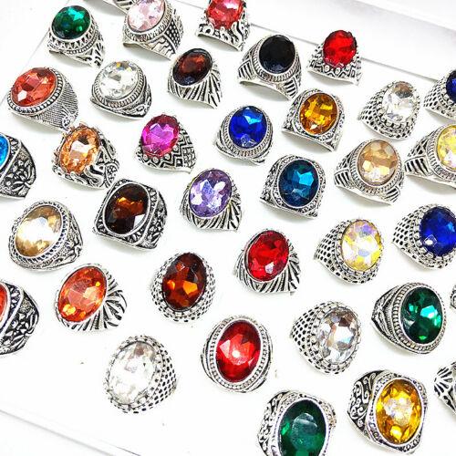 50pcs Mix Vintage Jewelry Antique Silver Stone Rings for Men Women Wholesale
