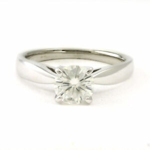 14k White Gold Ring w/ Moissanite Stone, Size 6.75, Estate #3734