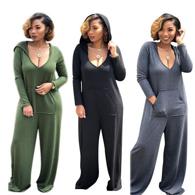 Casual Womens Hooded Long Sleeve Jumpsuits Overalls Loose Wide Leg Rompers Suit
