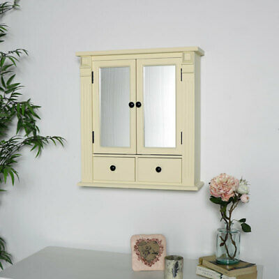Cream wood mirrored bathroom cabinet shelving storage display wall mounted decor
