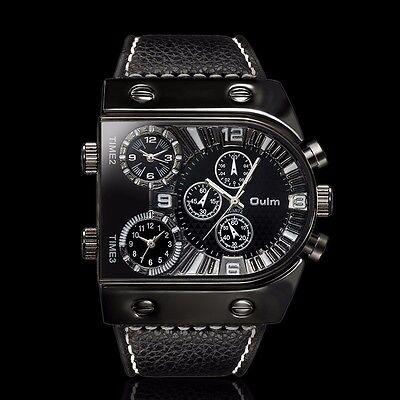 Oulm Multi Time Zones Military Army Mens Analog Quartz Sport Leather Wrist Watch