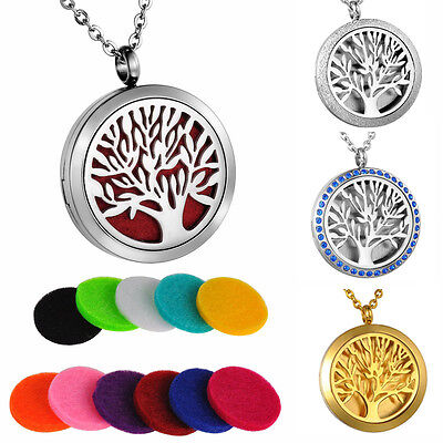 Tree Of Life Diffuser Locket Pendant Aromatherapy Essential Oil Perfume Necklace