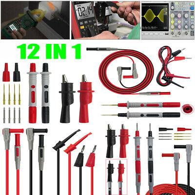 12 In 1 Multimeter Test Clip Lead Kit Heavy Duty Banana Tester Probe For Fluke