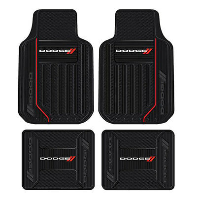 New 4pc Dodge Elite Racing Stripes Front & Back Heavy Duty Rubber Floor Mats Set