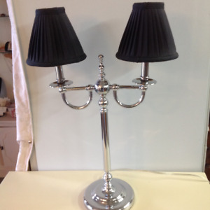 Gently used chrome table lamp