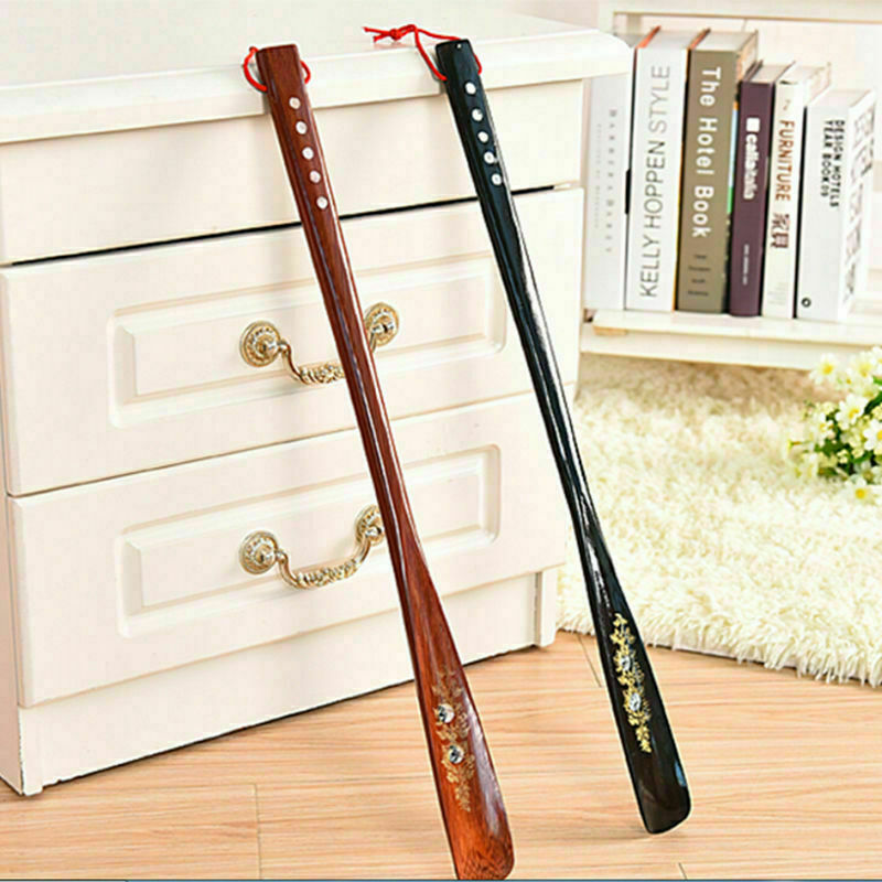 55cm Upper Flexible Long Handle Reach Easy On Shoehorn AID Wood Craft Shoe Horn