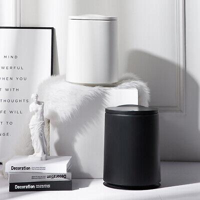 Trash Can Round Office Kitchen Living Room Bedroom Wastebasket Flip Home(White)