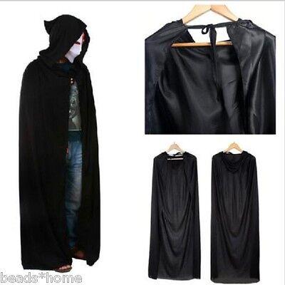Halloween Hooded Cape Adult Unisex Long Cloak Black Costume Dress Coats Gifts ##](Long Black Hooded Cloak)