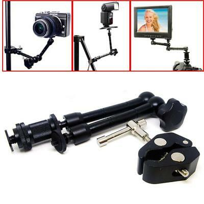 "11"" Inch Articulating Magic Arm + Super Clamp Crab Plier Clip for Camera DSLR BT"