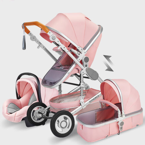 Baby Stroller 3 in 1 Newborn Infant Bassinet Travel System with Car Seat Pink