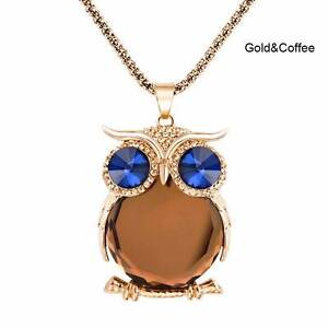 Coffee & gold Owl necklace - New and tagged. Gateshead Lake Macquarie Area Preview