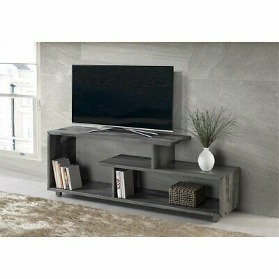 Solid Wood Tv Stand - 60 inch Rustic Solid Wood TV Stand Console in Grey
