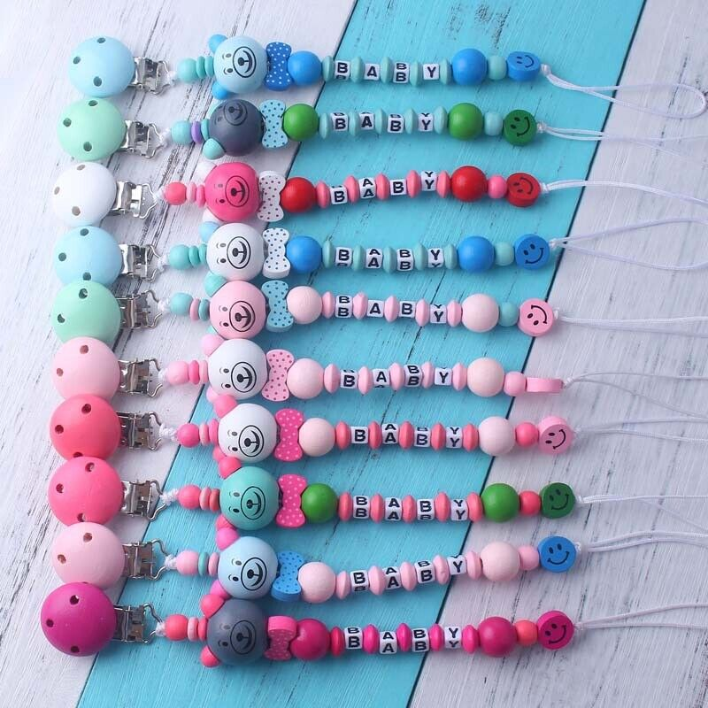 Safe Paint Wood Crochet Beads Baby Soother Holder Dummy Pacifier Chain Clip Toys