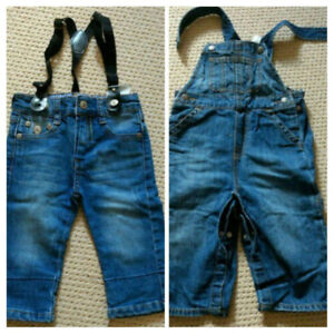 Jean Overalls, Jeans with attached Suspenders Size 12-18 Months
