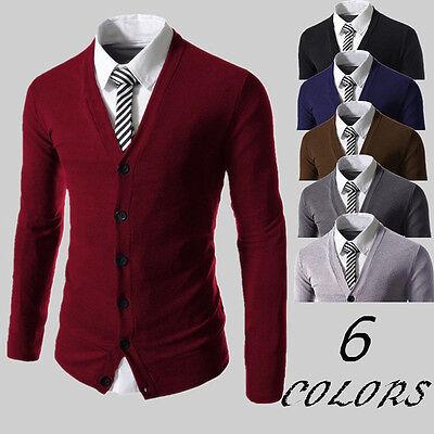 Stylish Mens Slim Fit V-neck Knitwear Pullover Cardigan Sweater Jacket Coat Tops