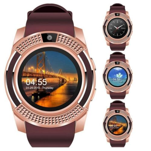 V8 Bluetooth Smart Watch Wrist Phone Mate Round Touch Screen GSM for Android IOS