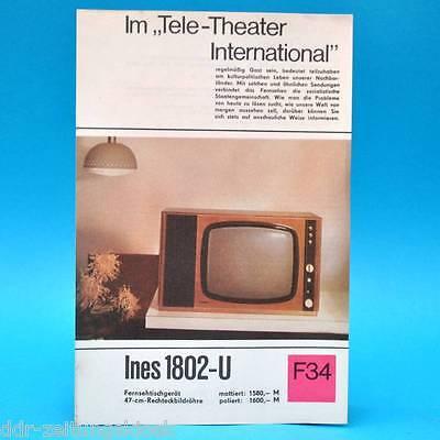 Fernsehtischgerät Ines 1802-U DDR 1969 47-Bildröhre Prospekt Werbung DEWAG F34 E