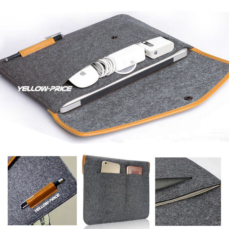 Multi-Pocket Laptop Wool Felt Sleeve Bag Case For MacBook Ai