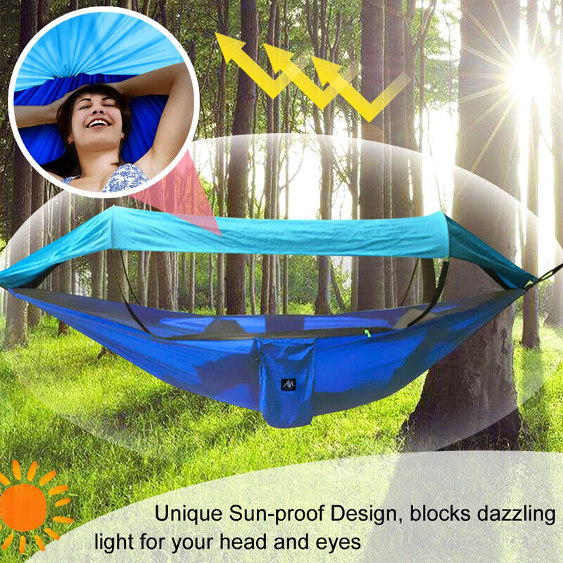 Portable Camping Hammock Tent Mosquito Net Waterproof Windproof Bed Blue