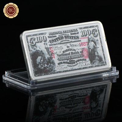 WR US 1875 $100 National Bank of North Carolina 1 Oz Silver Bullion Bar For Him