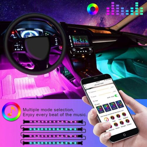 Car Parts - Car Interior 48 LED RGB Strip Lights Atmosphere Footwell Decor Bar Neon Lamp 12V