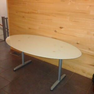 Frosted glass oval table