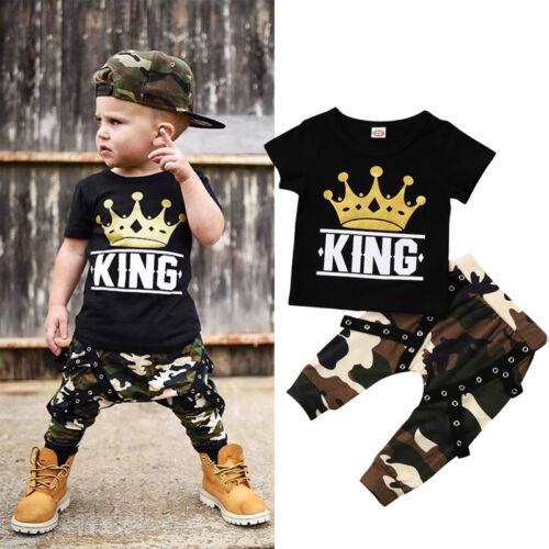 USA Toddler Kids Baby Boys Tops T-shirt Camo Pants 2Pcs Outf