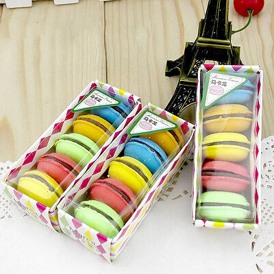 5pcs/Set Fashion Cute Macarons Colors Rubber Pencil Eraser Sweet Stationery HOT