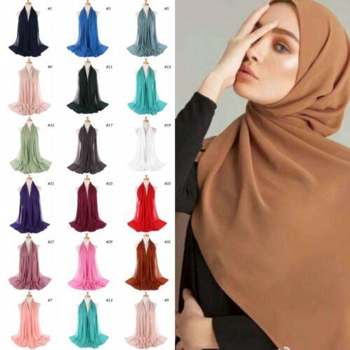 Women Plain Bubble Chiffon Hijab Islamic Muslim Turban Scarf Shawls Colors Sy Ebay