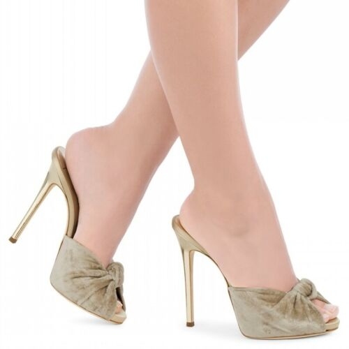 best loved 387dd df2d1 Details zu Damen Slipper Stilettos Schleife Übergröße Peeptoe Sehr High  Heels Plateau Pumps