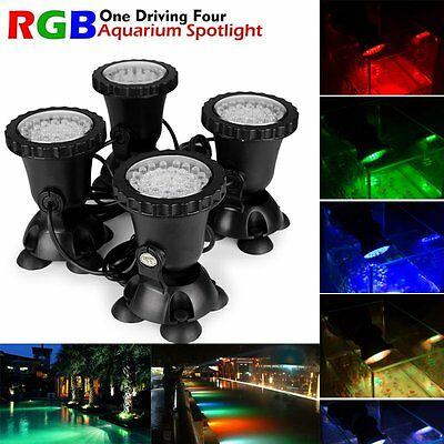 4x 36 RGB LED Aquarium Teichbeleuchtung Unterwasser Strahler Garten Teich Lampe