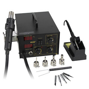 Segawe 2in1 SMD Soldering Rework Station Hot Air & Iron 852D+ 5Tips ESD PLCC BGA