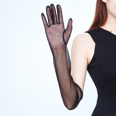 Tüll lange Handschuhe Stretch Spitze Nylon schwarz Semi durchsichtig (Lange Nylon Handschuhe Schwarz)