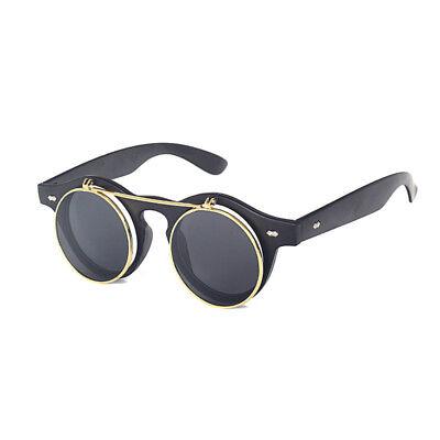 Retro Sonnenbrille Steampunk Herren Clubmaster Verspiegelte Brille Party Vintage