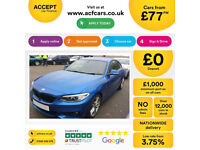 Blue BMW 228 coupe Petrol 2.0 i 2016 M Sport FROM £77 PER WEEK!