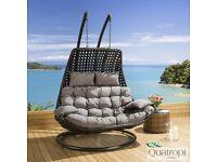 Outdoor Rattan 2 Person Garden Hanging Chair / Sunbed Black / Grey - NEW
