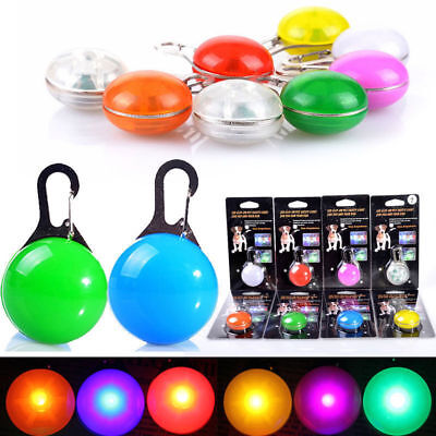Pet Dog Collar Clip On Led Light Ball Dark Glowing Safety Stainles Steel Pendant