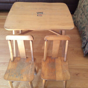 Vintage Childrens Wood Table and Chair Set