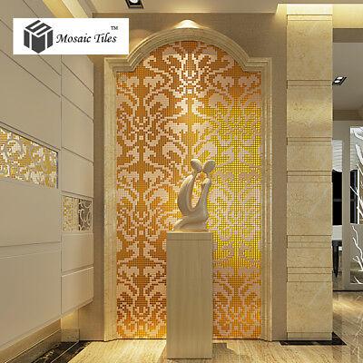 Mosaic Collages Golden Flower Pattern Vines Wall Deco Art Mosaics Tiles