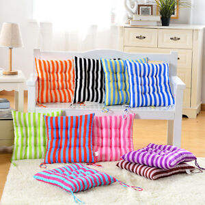 Home chair seat pads cushion pillows striped square filled patio kitchen decor ebay - Orange kitchen chair cushions ...