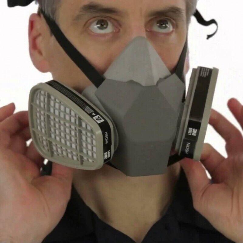 3M Half Face Large, Reusable Respirator 6300/07026 W/ Free Cartridges