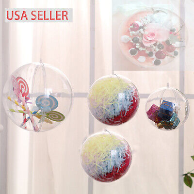 Lot Clear Plastic Ball Baubles Fillable Sphere Christmas Ornament Craft Gift Box](Plastic Ornament Ball)