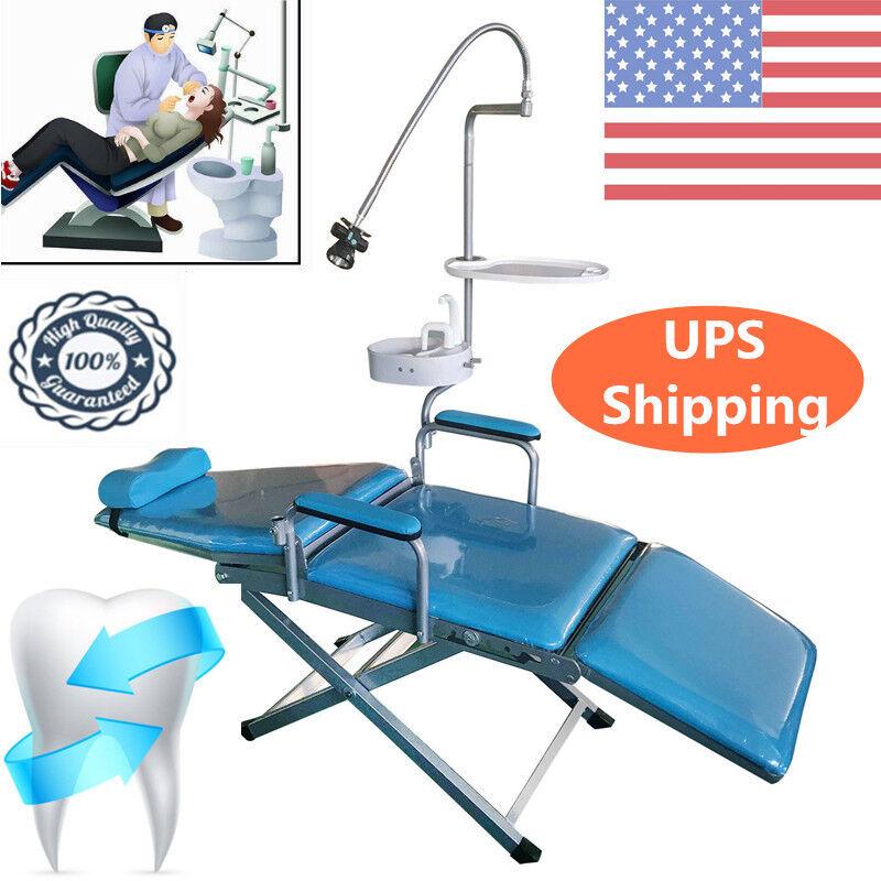 Dental Portable Folding Mobile Chair W/ LED Light,Tray,,Basin,Flushing system US