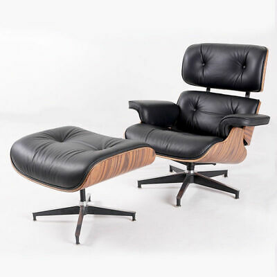 Premium Eames Lounge Chair & Ottoman Genuine Black Leather Palisander Wood for sale  Rowland Heights