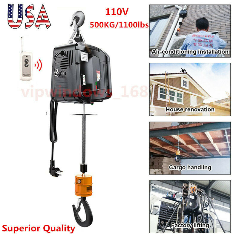 US Best Quality 110V Wireless Electric Hoist Winch Hand Held 120V 500KG/1100LBS
