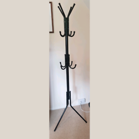 Black metal IKEA hat and coat stand