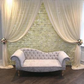 *£99* Flowerwall HIRE Wedding Stage Mehndi Stage Backdrop Wedding sofa