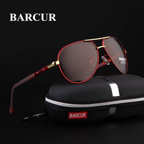 BARCUR Pilot Aluminum Sunglasses Men Magnesium Frame Polarized Mirror Glasses