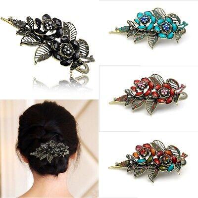 Vintage Damen Rose Blume Haarschmuck Haarspange Haarklammer Haarnadel Strass K